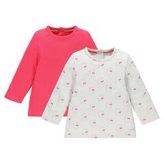 Set van 2 t-shirts lange mouwen in effen kleur