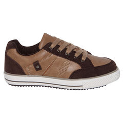 Lage sneakers met chocoladekleurige, camelveters uit twee materialen
