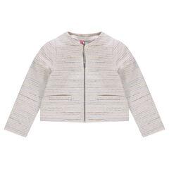 Katoenen vest met tweed-effect met pailletjes