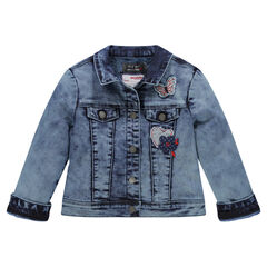 Jas in jeans used effect met sherpa voering fantasiepatchs