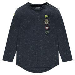 Junior - T-shirt met lange mouwen van jerseystof met badges