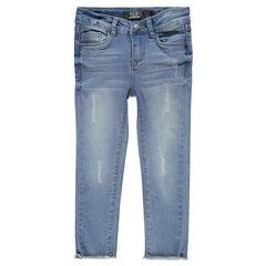 Jeansbroek met fantasie used effect met franjes