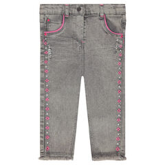 Jeans slim avec frise brodée