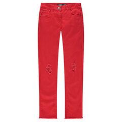 Junior - Effen skinny broek met used effect