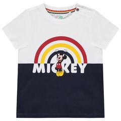 T-shirt manches courtes print Mickey Disney et arc-en-ciel