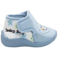 Blauwe pantoffels van jerseystof met geplastificeerde wolkenpatch en Smiley-print