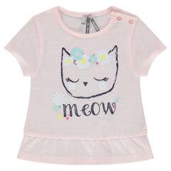 T-shirt met korte mouwen, fantasieprint en volants