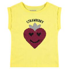 Geel T-shirt met korte mouwen met motief met aardbei van magische lovertjes