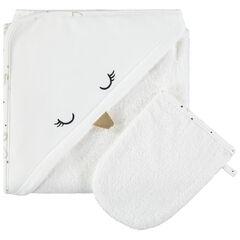 Set de bain avec cape brodée et gant assorti en coton bio