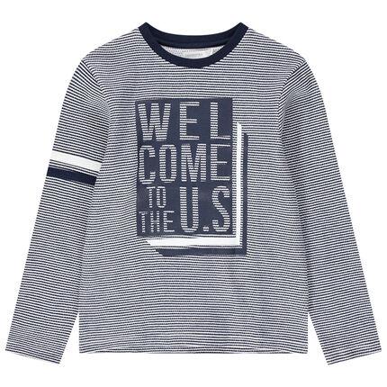 Junior - T-shirt manches longues à fines rayures et message printé