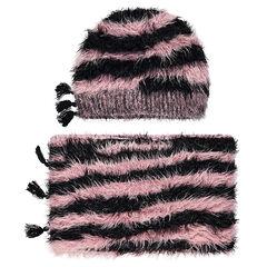 Ensemble bonnet et snood en tricot poil zébré doublé sherpa