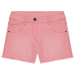"Junior - Geverfde short in twill met used-effect en ""cut""-afwerking"