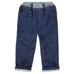 Jeansbroek met recht pasvorm crinkle effect met warme voering in microfleece