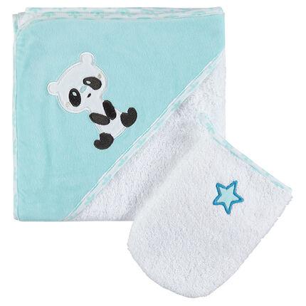 Set van in badstof borduursel met panda en sterren