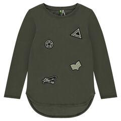 Junior - Tee-shirt manches longues avec badges patchés forme écusson