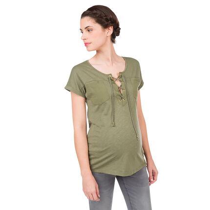 Kaki zwangerschaps t-shirt met fantasiehals