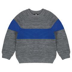 Pull en tricot ottoman avec bande contrastée