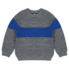 Trui van Ottomaanse tricot met contrasterende band