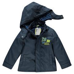 Coupe-vent en gomme doublé jersey avec capuche amovible