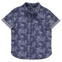 """Junior - Hemd met korte mouwen en plantenprint """"all-over"""""""
