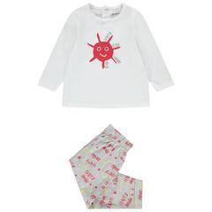 Tweedelige pyjama met lange mouwen en print van jerseystof