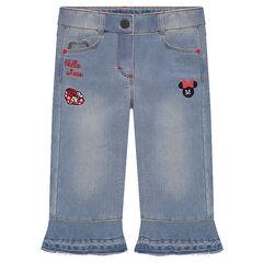 Disney capri van jeans met used effect met borduurwerk van Minnie