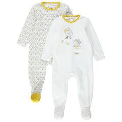 Set van 2 fluwelen pyjama's met muisjesprint en gele accentjes