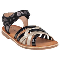 Open schoenen in leder met lintjes met klittenbandsluiting