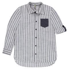 Junior - Gestreept hemd met lange mouwen en fantasiezakje