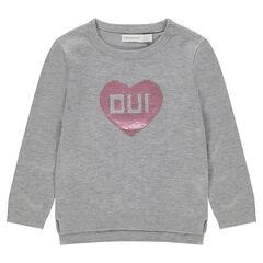 Pull en tricot gris chiné avec coeur en sequins magiques