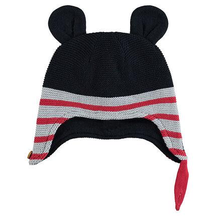 Bonnet péruvien avec bandes contrastées et oreilles de Mickey ©Disney sur le dessus