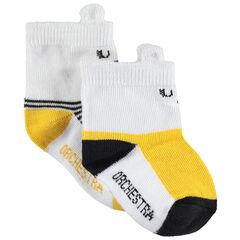 Set met 2 paar bijpassende sokken met contrasten/streepjes