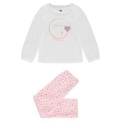 Pyjama van fluweel met ©Smiley print