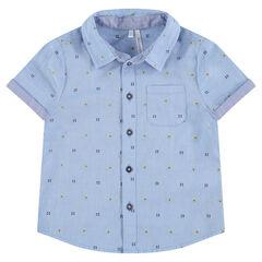 """Hemd met korte mouwen met klein motief van jacquard """"all-over"""""""