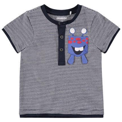 Gestreept T-shirt met korte mouwen en print met monster