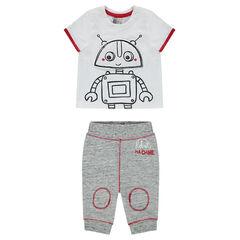 Ensemble tee-shirt manches courtes print robot et pantalon en molleton