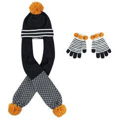 Muts met sjaal van tricot met pompons en gestreepte wanten