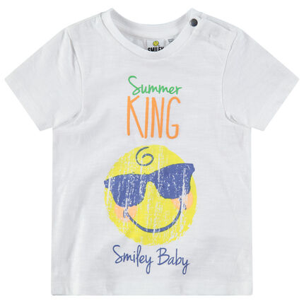 Tee-shirt manches courtes avec ©Smiley effet crinkle