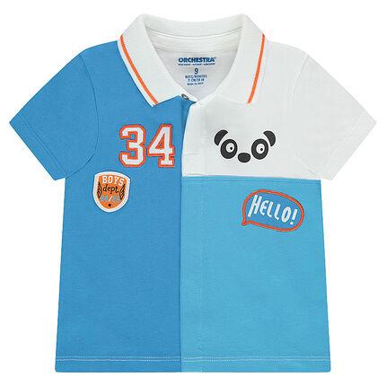 Polo met korte mouwen in drie kleuren met opgestikte badges en print met panda