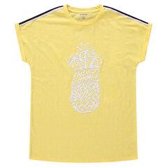 Junior - T-shirt met korte mouwen van jerseystof met ananasprint en stroken