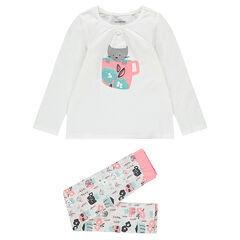 Pyjama en jersey avec chaton printé