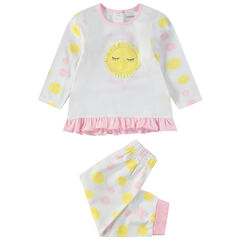 Pyjama van jerseystof met stippen en opgestikte zon aan de voorzijde