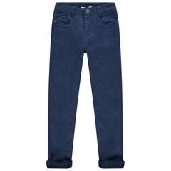 Junior - Linnen slim-fit broek met zakken