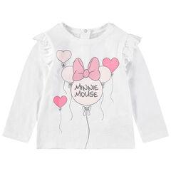T-shirt manches longues print Minnie forme ballon avec paillettes