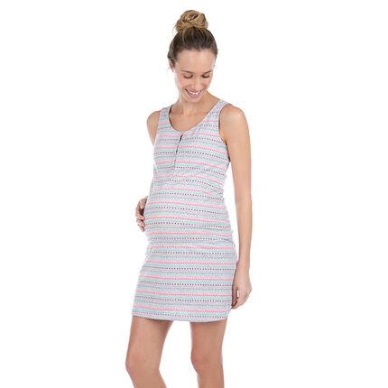 Chemise de nuit de grossesse sans manches à imprimé graphique