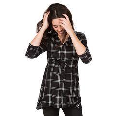 Zwangerschapshemd met lange mouwen en grote ruiten