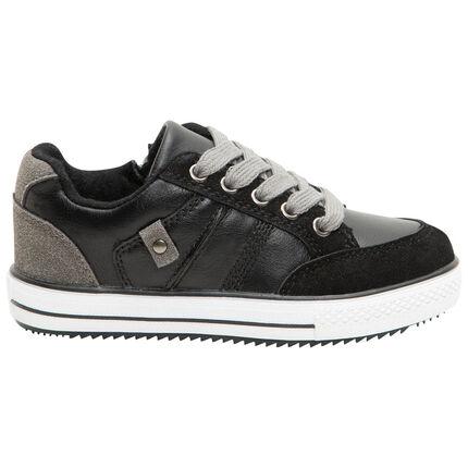 Lage sneakers met veters en ritssluiting uit twee materialen van maat 24 tot 29