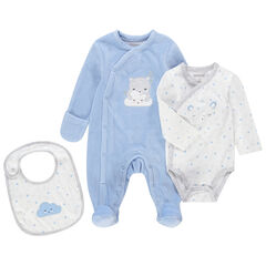 Blauw-witte geboorteset met pyjama van velours, body met lange mouwen en slabbetje