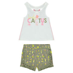 "Ensemble van tanktop van jerseystof en short met cactusprint ""all-over"""