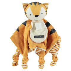 Knuffel van velours in de vorm van een tijger met strikken